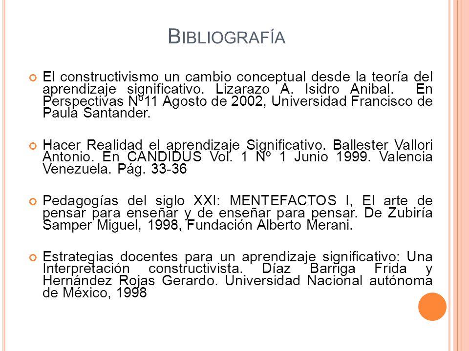 B IBLIOGRAFÍA El constructivismo un cambio conceptual desde la teoría del aprendizaje significativo. Lizarazo A. Isidro Anibal. En Perspectivas Nº11 A