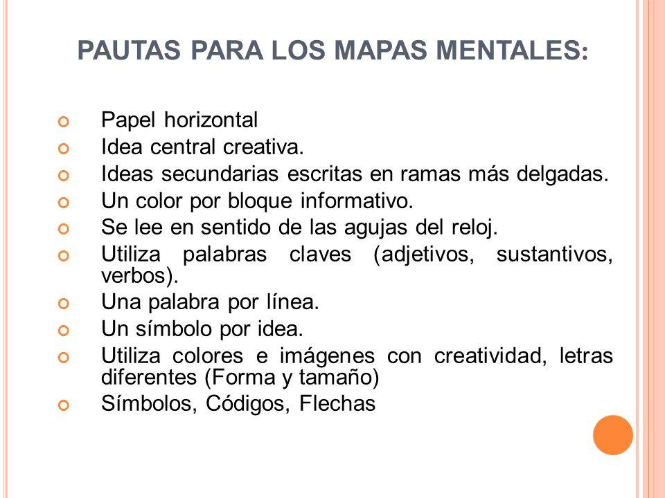PAUTAS PARA LOS MAPAS MENTALES : Papel horizontal Idea central creativa. Ideas secundarias escritas en ramas más delgadas. Un color por bloque informa