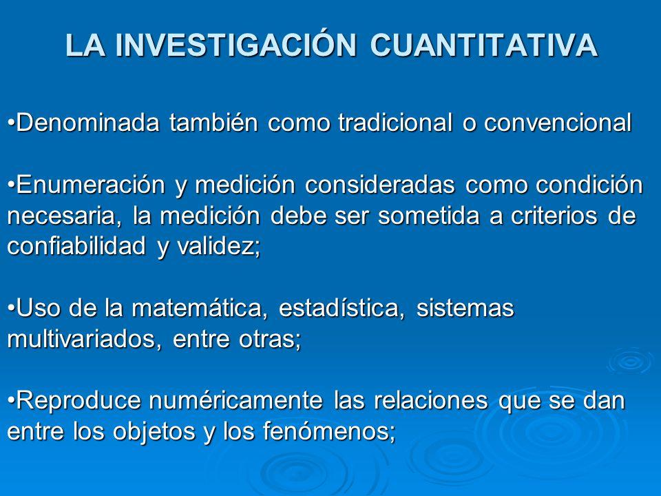 LA INVESTIGACIÓN CUANTITATIVA Denominada también como tradicional o convencionalDenominada también como tradicional o convencional Enumeración y medic