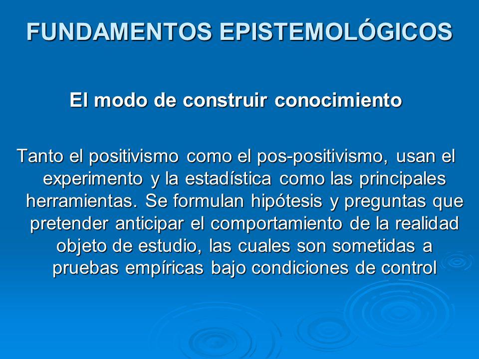 FUNDAMENTOS EPISTEMOLÓGICOS El modo de construir conocimiento Tanto el positivismo como el pos-positivismo, usan el experimento y la estadística como las principales herramientas.