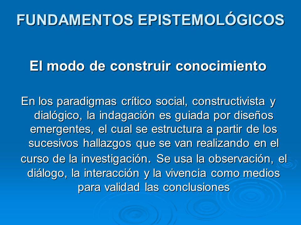 FUNDAMENTOS EPISTEMOLÓGICOS El modo de construir conocimiento En los paradigmas crítico social, constructivista y dialógico, la indagación es guiada p