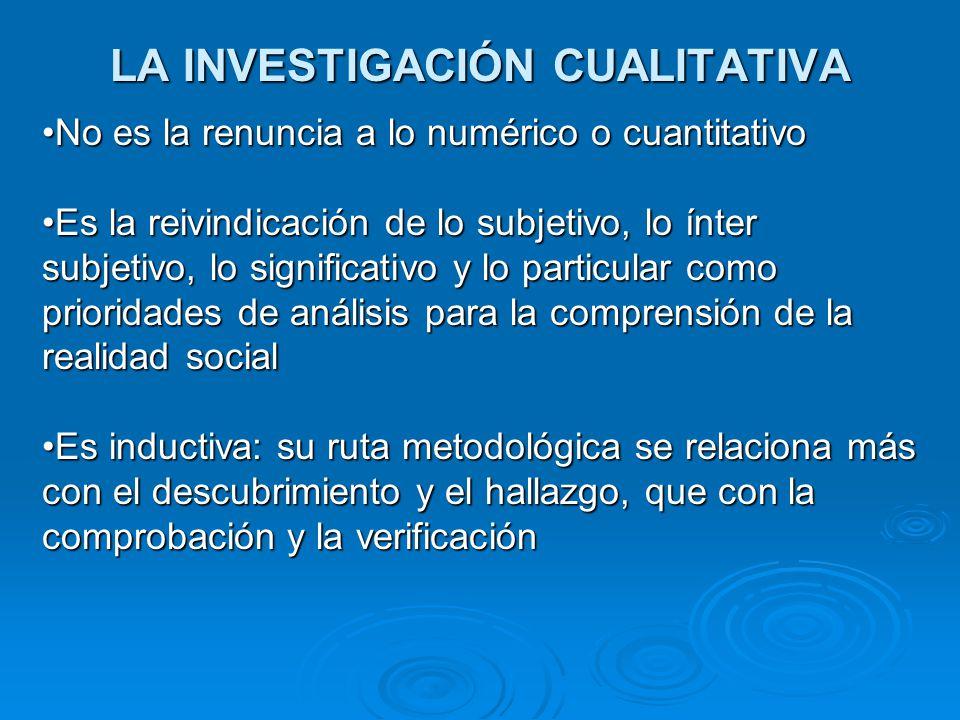 LA INVESTIGACIÓN CUALITATIVA No es la renuncia a lo numérico o cuantitativoNo es la renuncia a lo numérico o cuantitativo Es la reivindicación de lo s