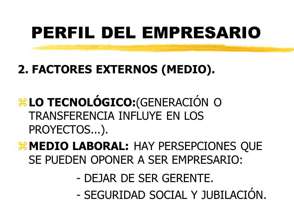 PERFIL DEL EMPRESARIO 2. FACTORES EXTERNOS (MEDIO). zLO TECNOLÓGICO:(GENERACIÓN O TRANSFERENCIA INFLUYE EN LOS PROYECTOS...). zMEDIO LABORAL: HAY PERS