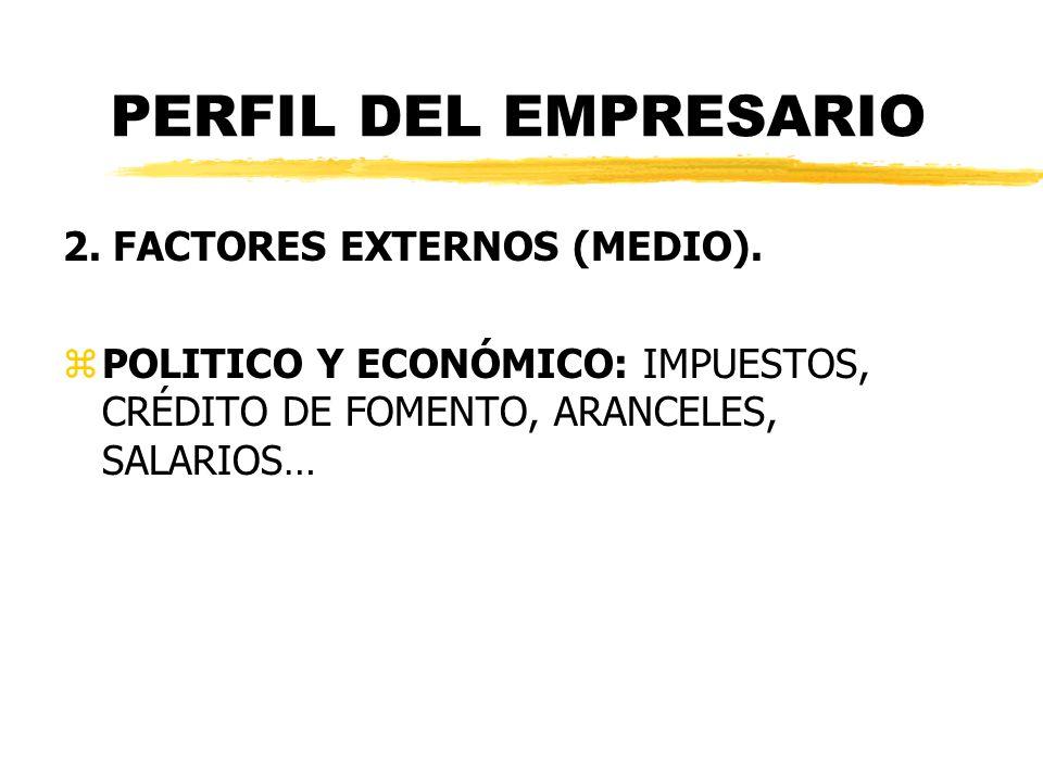 PERFIL DEL EMPRESARIO 2. FACTORES EXTERNOS (MEDIO). zPOLITICO Y ECONÓMICO: IMPUESTOS, CRÉDITO DE FOMENTO, ARANCELES, SALARIOS…