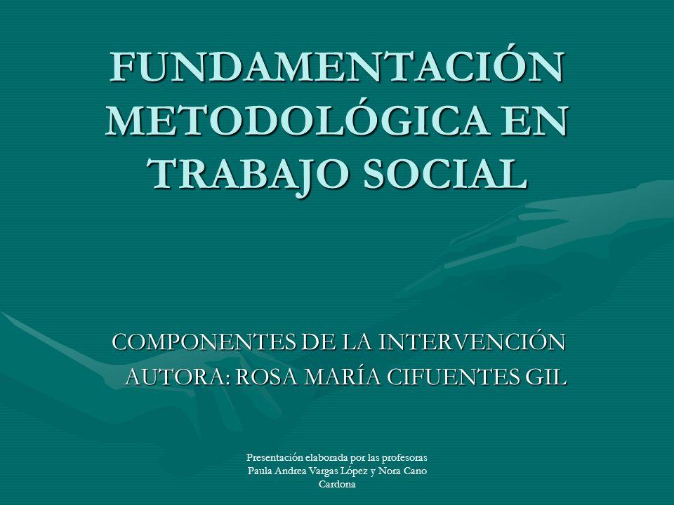 Presentación elaborada por las profesoras Paula Andrea Vargas López y Nora Cano Cardona FUNDAMENTACIÓN METODOLÓGICA EN TRABAJO SOCIAL COMPONENTES DE L