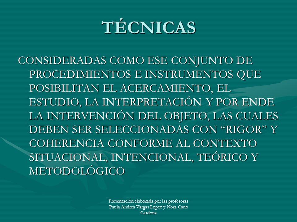 Presentación elaborada por las profesoras Paula Andrea Vargas López y Nora Cano Cardona TÉCNICAS CONSIDERADAS COMO ESE CONJUNTO DE PROCEDIMIENTOS E IN