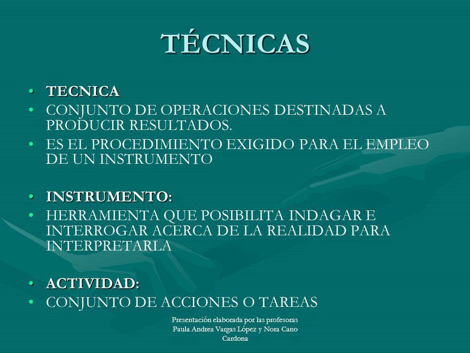 Presentación elaborada por las profesoras Paula Andrea Vargas López y Nora Cano Cardona TÉCNICAS TECNICATECNICA CONJUNTO DE OPERACIONES DESTINADAS A P