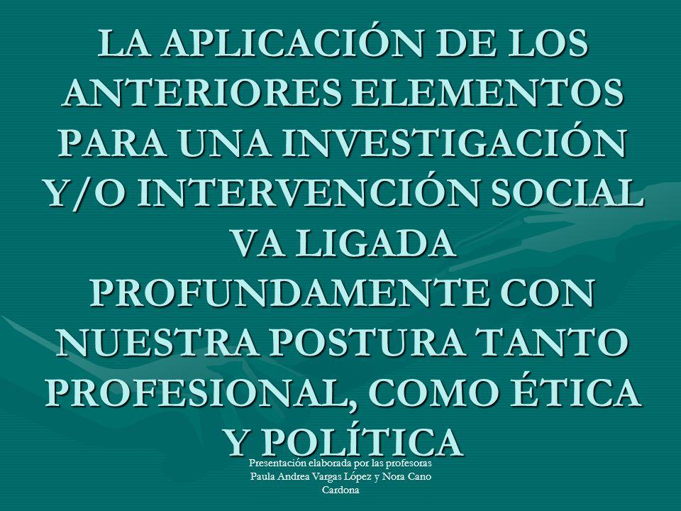 Presentación elaborada por las profesoras Paula Andrea Vargas López y Nora Cano Cardona LA APLICACIÓN DE LOS ANTERIORES ELEMENTOS PARA UNA INVESTIGACI