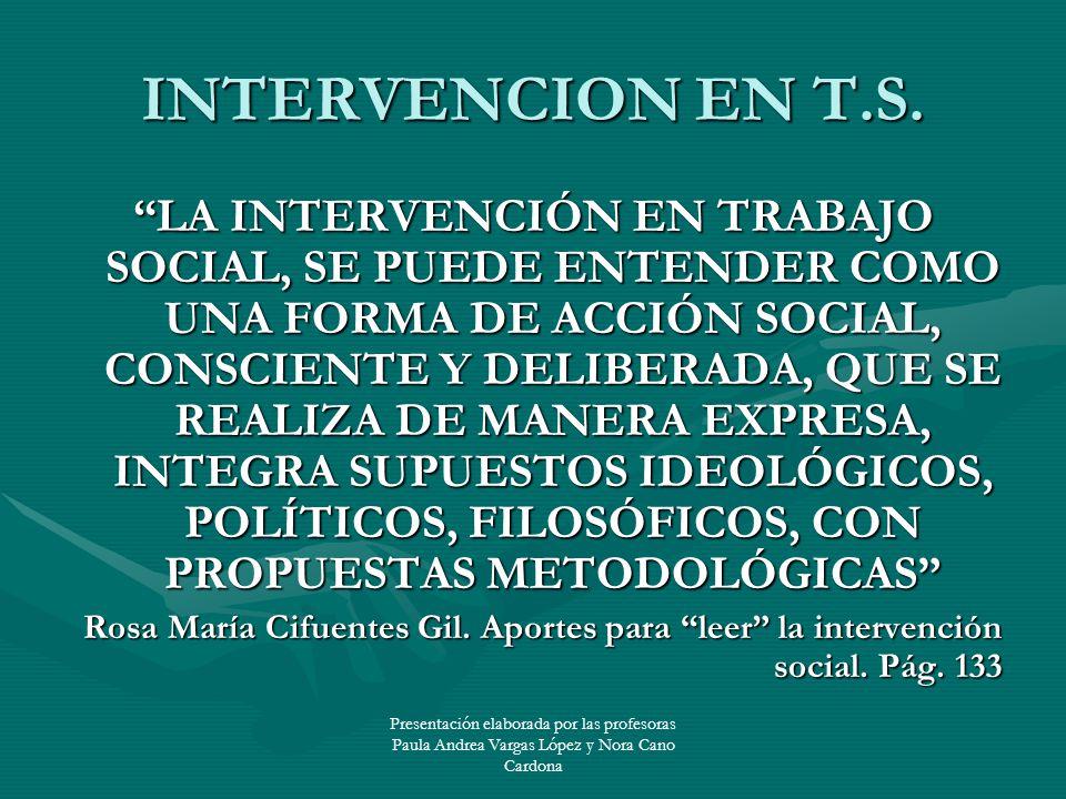 Presentación elaborada por las profesoras Paula Andrea Vargas López y Nora Cano Cardona INTERVENCION EN T.S. LA INTERVENCIÓN EN TRABAJO SOCIAL, SE PUE
