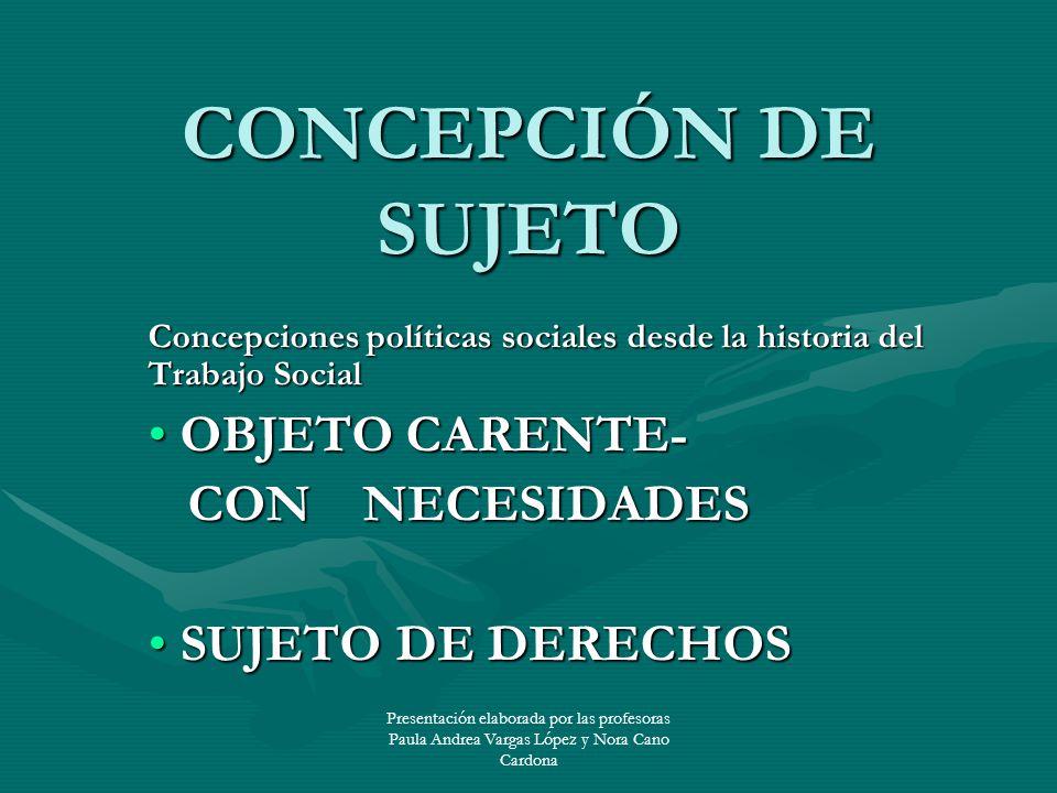 Presentación elaborada por las profesoras Paula Andrea Vargas López y Nora Cano Cardona CONCEPCIÓN DE SUJETO Concepciones políticas sociales desde la