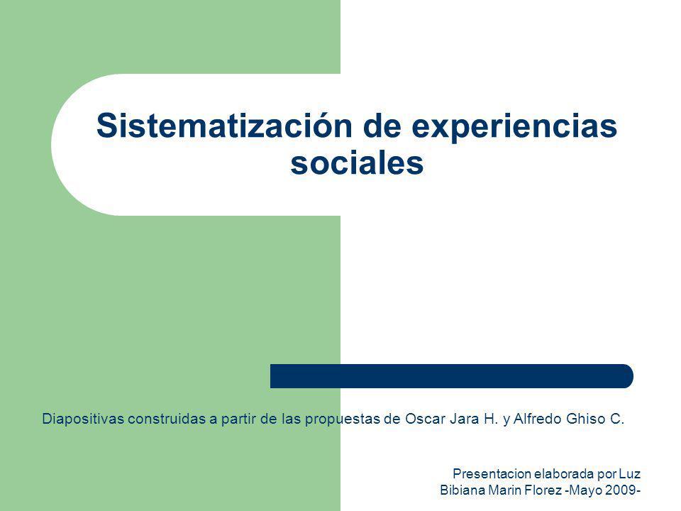 Presentacion elaborada por Luz Bibiana Marin Florez -Mayo 2009- Sistematización de experiencias sociales Diapositivas construidas a partir de las prop