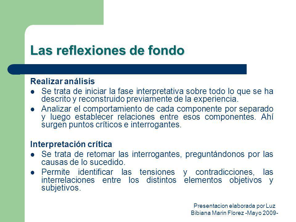 Presentacion elaborada por Luz Bibiana Marin Florez -Mayo 2009- Las reflexiones de fondo Realizar análisis Se trata de iniciar la fase interpretativa