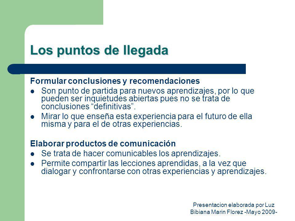 Presentacion elaborada por Luz Bibiana Marin Florez -Mayo 2009- Los puntos de llegada Formular conclusiones y recomendaciones Son punto de partida par
