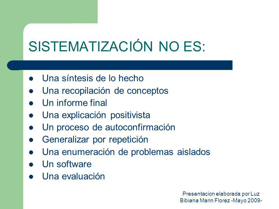 Presentacion elaborada por Luz Bibiana Marin Florez -Mayo 2009- SISTEMATIZACIÓN NO ES: Una síntesis de lo hecho Una recopilación de conceptos Un infor