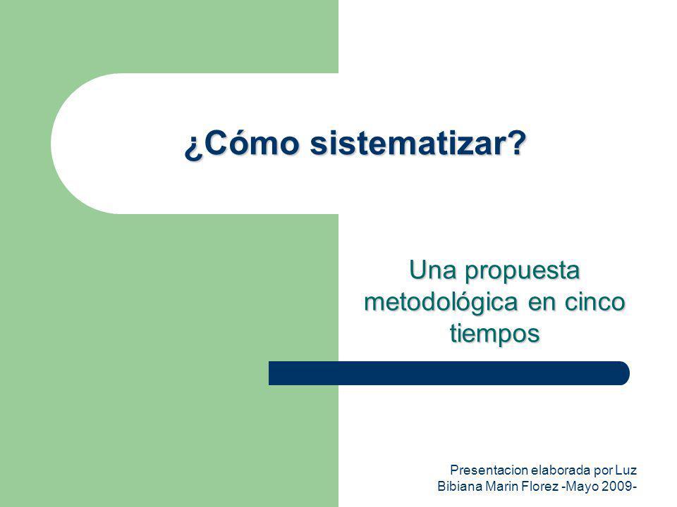 Presentacion elaborada por Luz Bibiana Marin Florez -Mayo 2009- ¿Cómo sistematizar? Una propuesta metodológica en cinco tiempos
