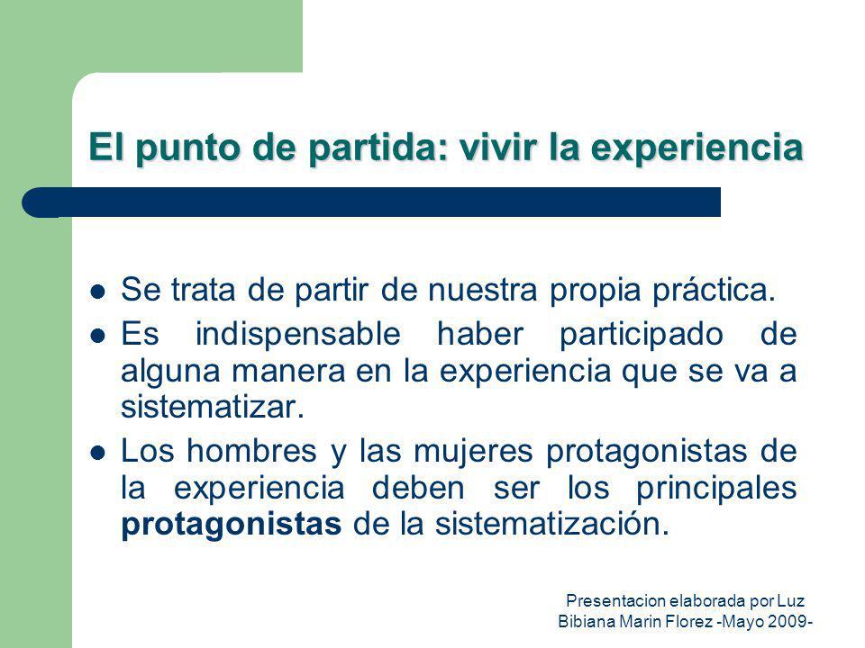 Presentacion elaborada por Luz Bibiana Marin Florez -Mayo 2009- El punto de partida: vivir la experiencia Se trata de partir de nuestra propia práctic
