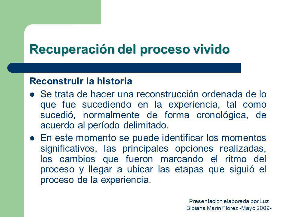 Presentacion elaborada por Luz Bibiana Marin Florez -Mayo 2009- Recuperación del proceso vivido Reconstruir la historia Se trata de hacer una reconstr
