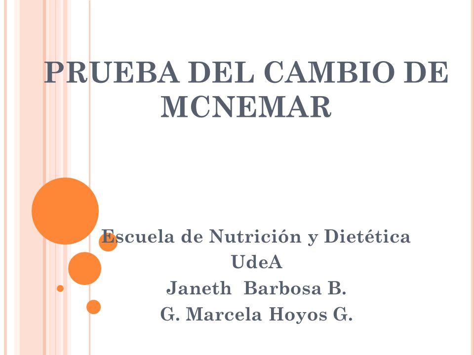 PRUEBA DEL CAMBIO DE MCNEMAR Escuela de Nutrición y Dietética UdeA Janeth Barbosa B.