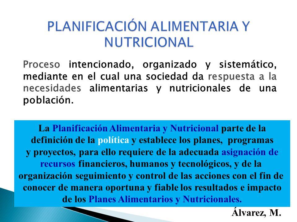Proceso intencionado, organizado y sistemático, mediante en el cual una sociedad da respuesta a la necesidades alimentarias y nutricionales de una pob