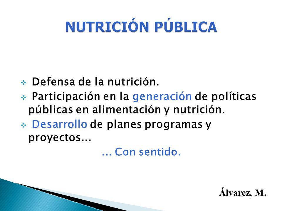 Defensa de la nutrición. Participación en la generación de políticas públicas en alimentación y nutrición. Desarrollo de planes programas y proyectos.