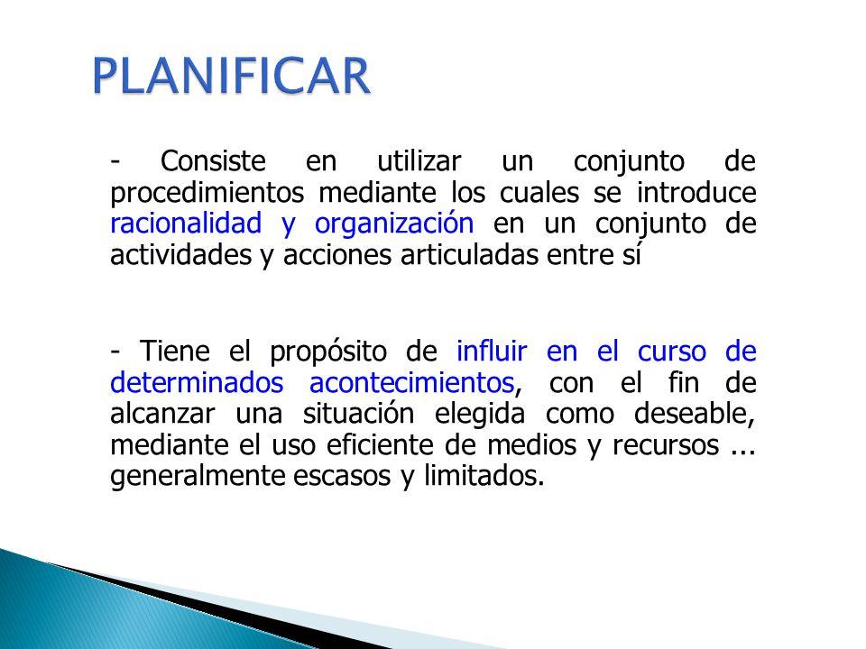 - Consiste en utilizar un conjunto de procedimientos mediante los cuales se introduce racionalidad y organización en un conjunto de actividades y acci