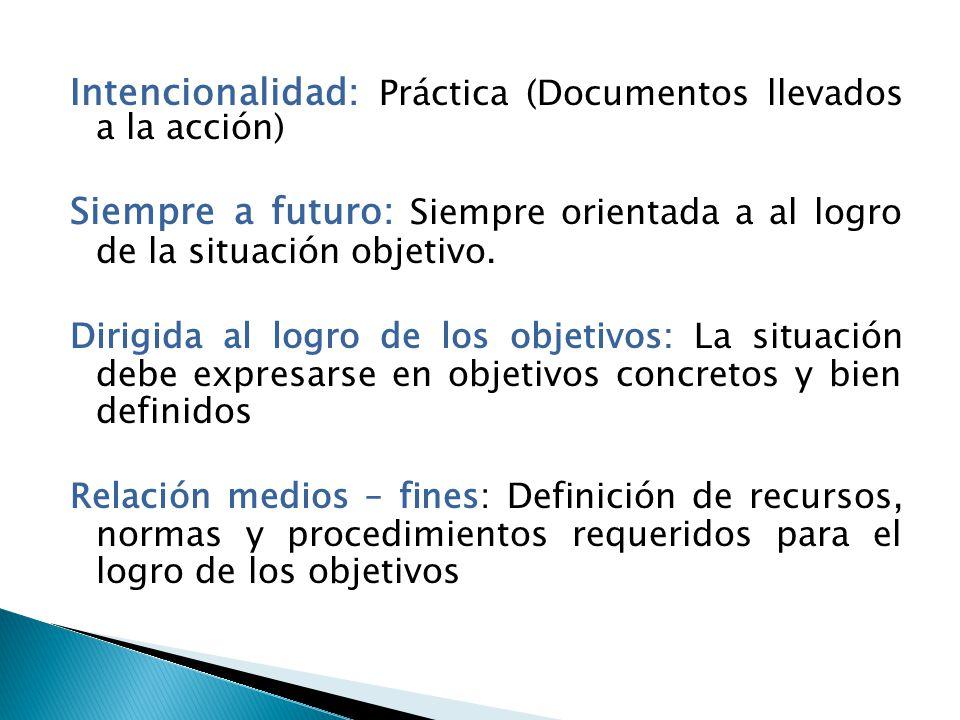 Intencionalidad: Práctica (Documentos llevados a la acción) Siempre a futuro: Siempre orientada a al logro de la situación objetivo. Dirigida al logro