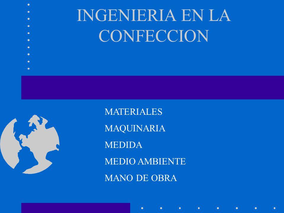 INGENIERIA EN LA CONFECCION MEDIDA MATERIALES MAQUINARIA MEDIO AMBIENTE MANO DE OBRA