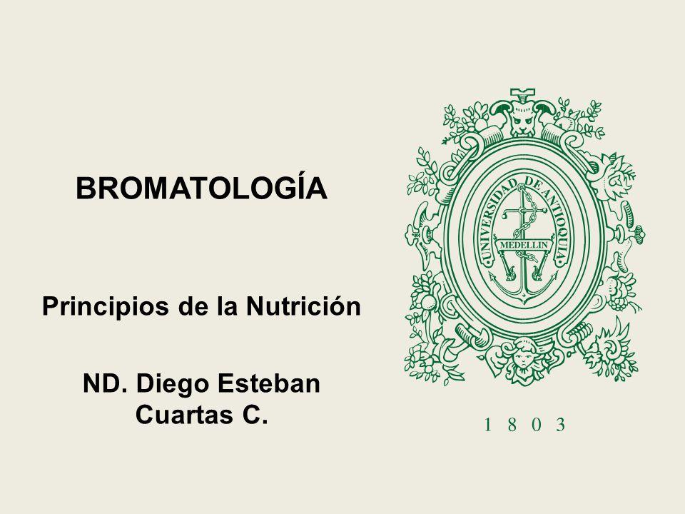 BROMATOLOGÍA Principios de la Nutrición ND. Diego Esteban Cuartas C.
