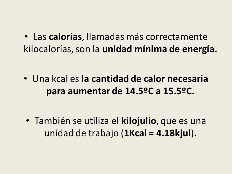 Las calorías, llamadas más correctamente kilocalorías, son la unidad mínima de energía. Una kcal es la cantidad de calor necesaria para aumentar de 14