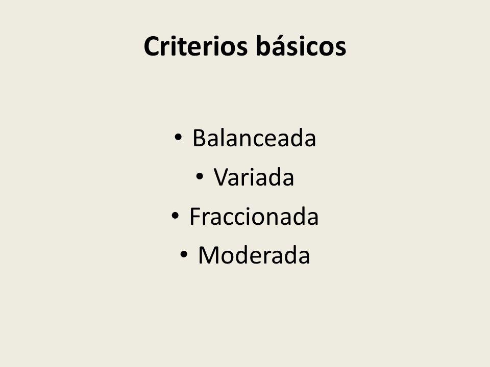 Criterios básicos Balanceada Variada Fraccionada Moderada