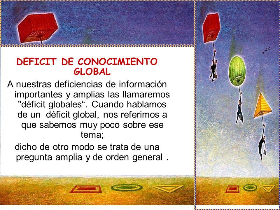 DEFICIT DE CONOCIMIENTO GLOBAL A nuestras deficiencias de información importantes y amplias las llamaremos