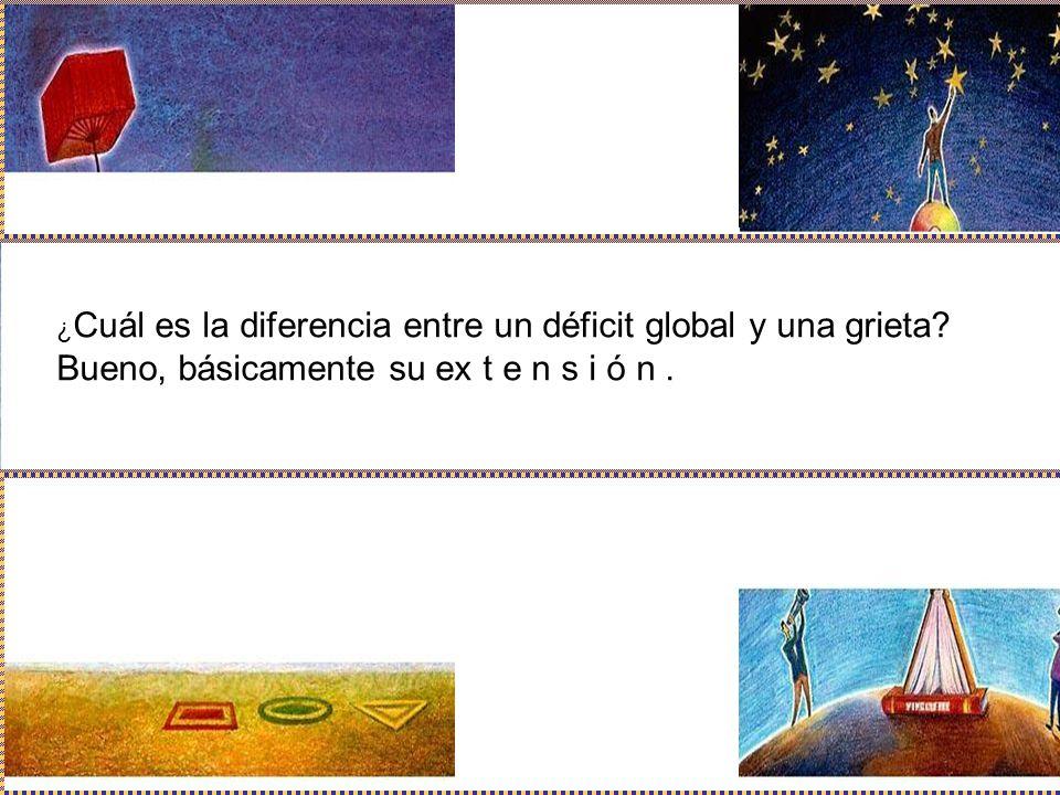 ¿ Cuál es la diferencia entre un déficit global y una grieta? Bueno, básicamente su ex t e n s i ó n.