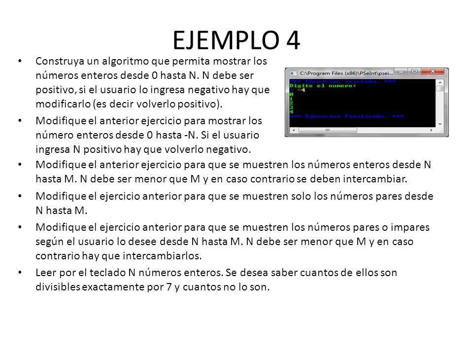 EJEMPLO 4 Construya un algoritmo que permita mostrar los números enteros desde 0 hasta N. N debe ser positivo, si el usuario lo ingresa negativo hay q