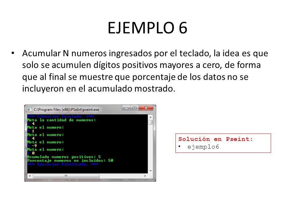 EJEMPLO 6 Acumular N numeros ingresados por el teclado, la idea es que solo se acumulen dígitos positivos mayores a cero, de forma que al final se muestre que porcentaje de los datos no se incluyeron en el acumulado mostrado.
