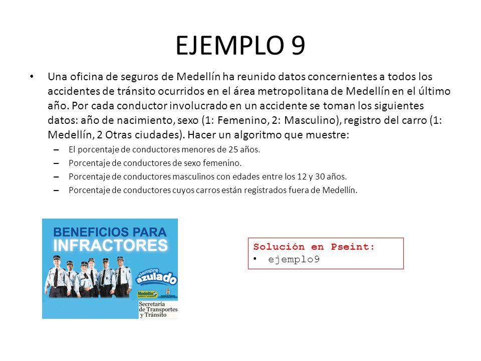 EJEMPLO 9 Una oficina de seguros de Medellín ha reunido datos concernientes a todos los accidentes de tránsito ocurridos en el área metropolitana de M