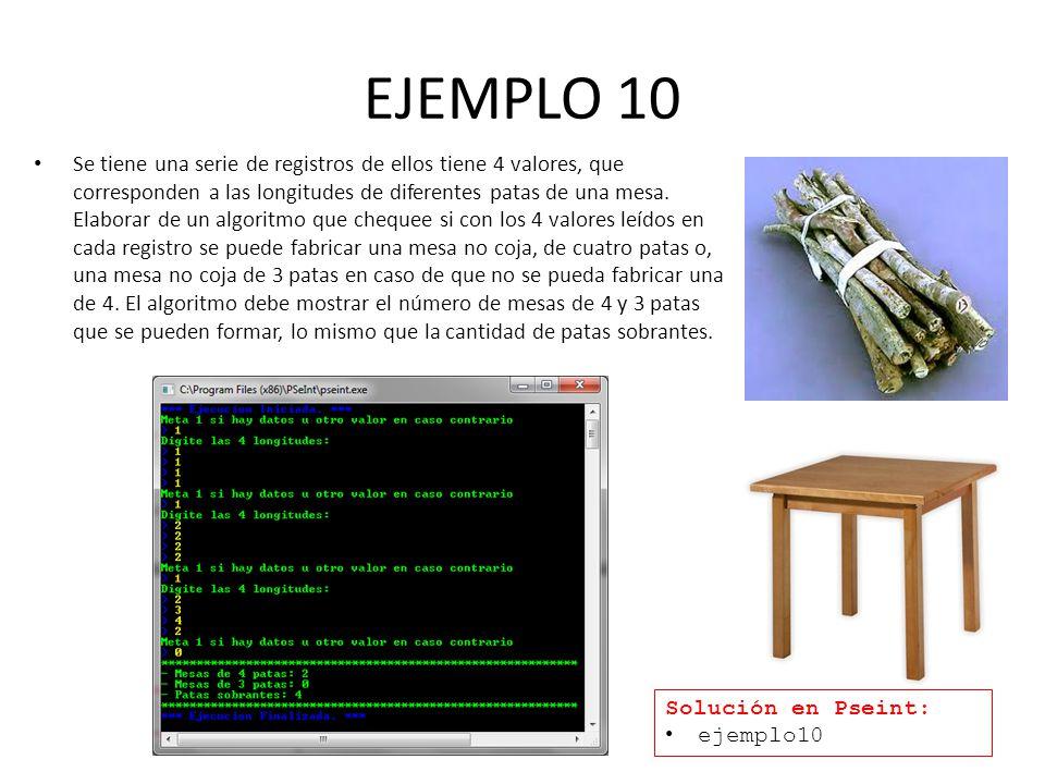 EJEMPLO 10 Se tiene una serie de registros de ellos tiene 4 valores, que corresponden a las longitudes de diferentes patas de una mesa.