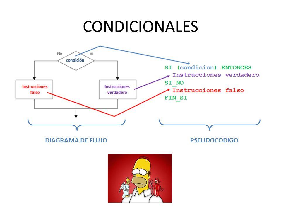 CONDICIONALES DIAGRAMA DE FLUJOPSEUDOCODIGO