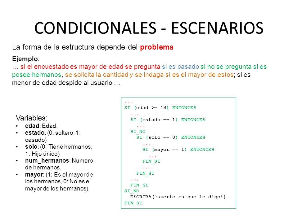CONDICIONALES - ESCENARIOS La forma de la estructura depende del problema Ejemplo: … si el encuestado es mayor de edad se pregunta si es casado si no