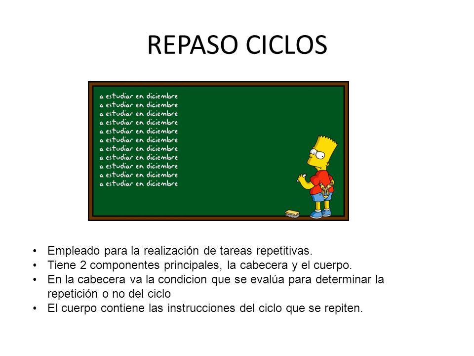 REPASO CICLOS Empleado para la realización de tareas repetitivas. Tiene 2 componentes principales, la cabecera y el cuerpo. En la cabecera va la condi