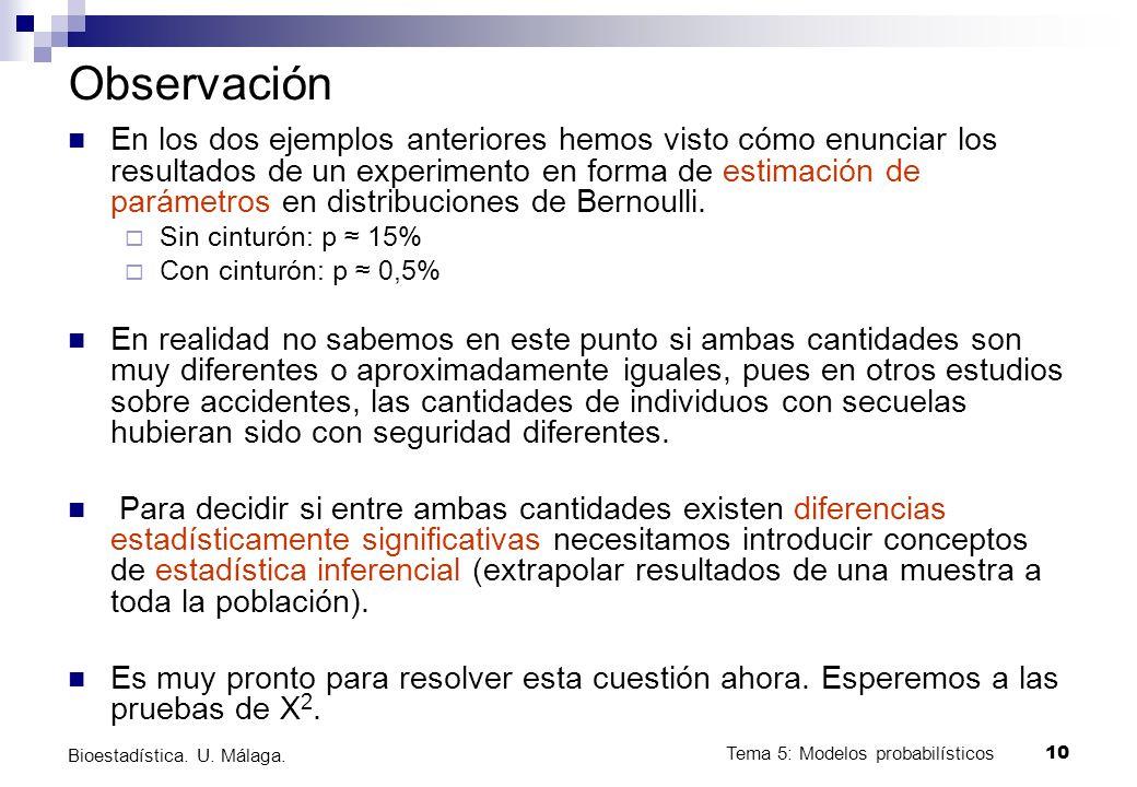 Tema 5: Modelos probabilísticos 10 Bioestadística.