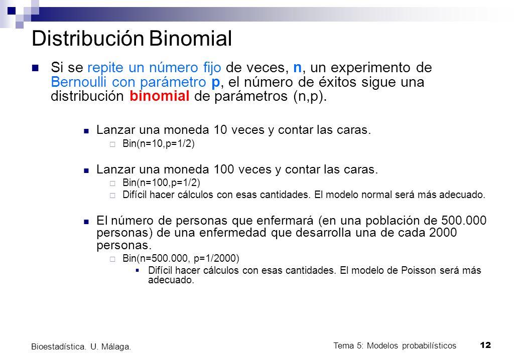 Tema 5: Modelos probabilísticos 12 Bioestadística. U. Málaga. Distribución Binomial Si se repite un número fijo de veces, n, un experimento de Bernoul