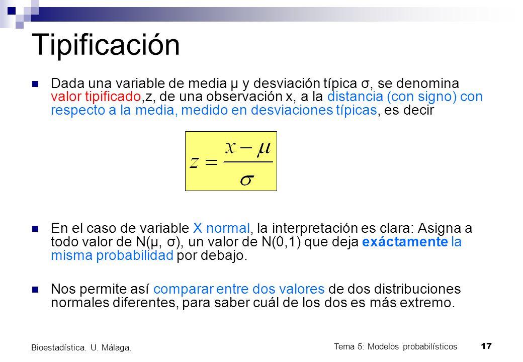 Tema 5: Modelos probabilísticos 17 Bioestadística. U. Málaga. Tipificación Dada una variable de media μ y desviación típica σ, se denomina valor tipif