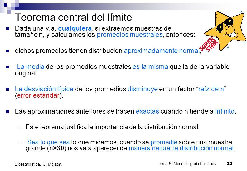 Tema 5: Modelos probabilísticos 23 Bioestadística. U. Málaga. Teorema central del límite Dada una v.a. cualquiera, si extraemos muestras de tamaño n,