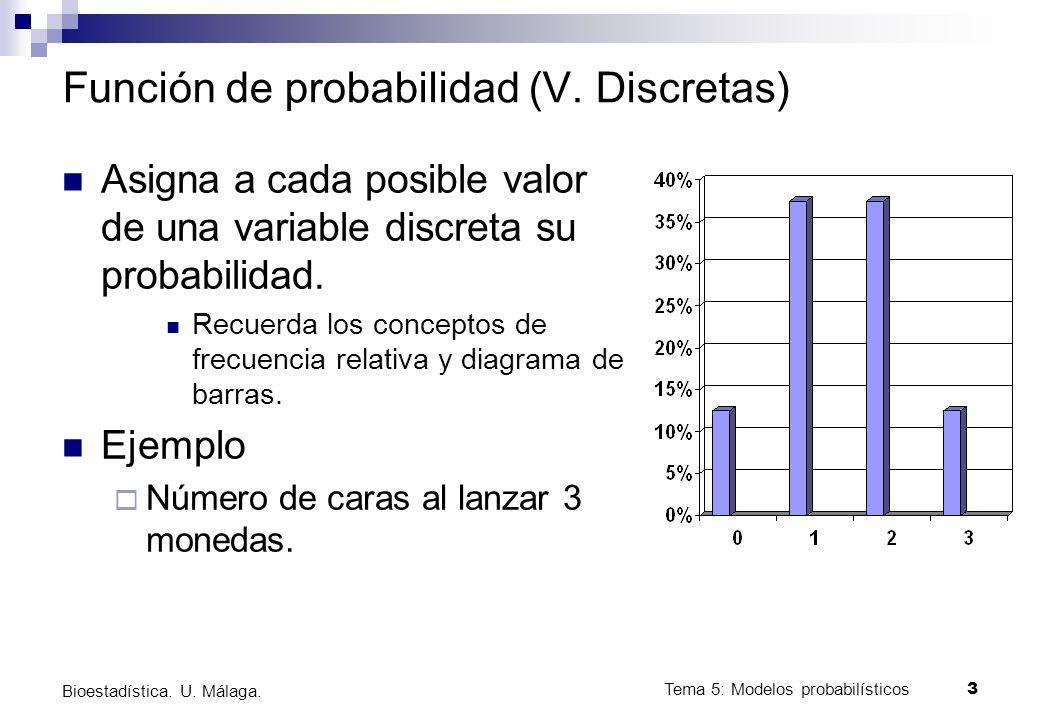 Tema 5: Modelos probabilísticos 14 Bioestadística.