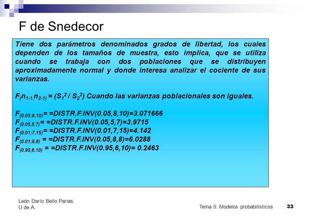 Tema 5: Modelos probabilísticos 33 F de Snedecor Tiene dos parámetros denominados grados de libertad, los cuales dependen de los tamaños de muestra, esto implica, que se utiliza cuando se trabaja con dos poblaciones que se distribuyen aproximadamente normal y donde interesa analizar el cociente de sus varianzas.
