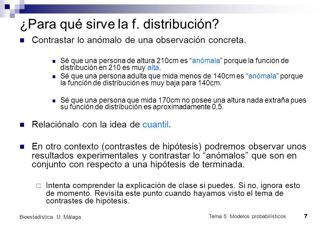 Tema 5: Modelos probabilísticos 8 Bioestadística.U.