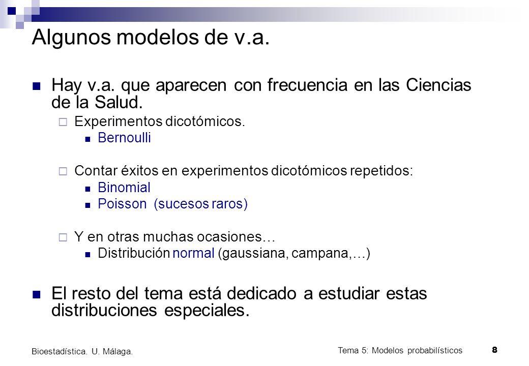 Tema 5: Modelos probabilísticos 8 Bioestadística. U. Málaga. Algunos modelos de v.a. Hay v.a. que aparecen con frecuencia en las Ciencias de la Salud.