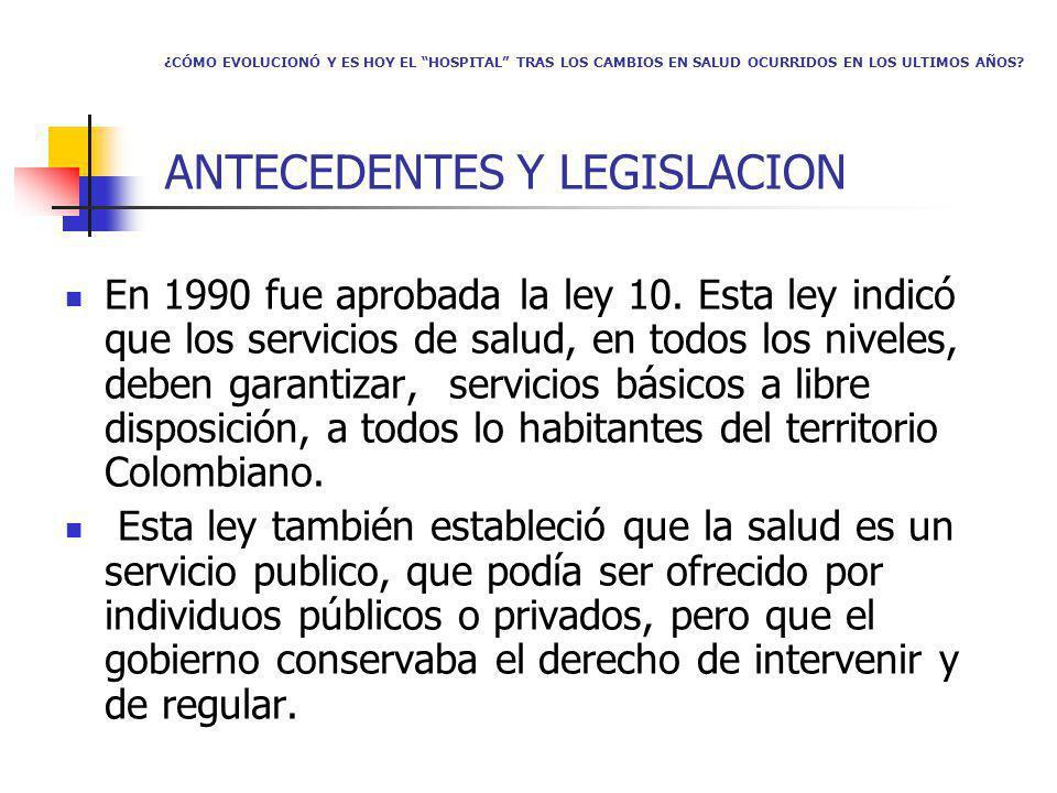 ¿CÓMO EVOLUCIONÓ Y ES HOY EL HOSPITAL TRAS LOS CAMBIOS EN SALUD OCURRIDOS EN LOS ULTIMOS AÑOS? ANTECEDENTES Y LEGISLACION En 1990 fue aprobada la ley