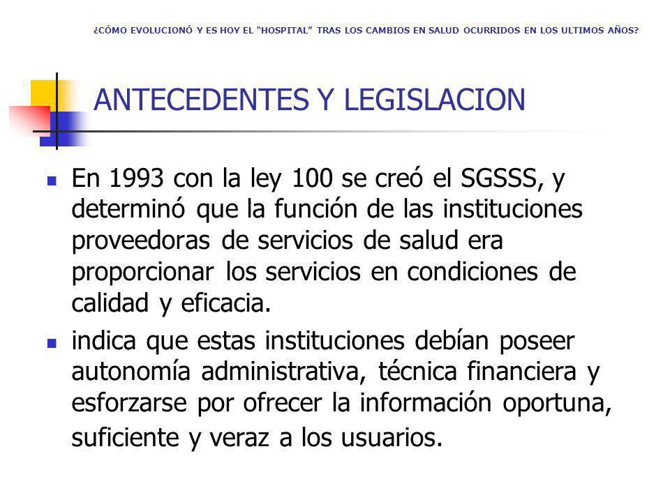 ¿CÓMO EVOLUCIONÓ Y ES HOY EL HOSPITAL TRAS LOS CAMBIOS EN SALUD OCURRIDOS EN LOS ULTIMOS AÑOS? ANTECEDENTES Y LEGISLACION En 1993 con la ley 100 se cr