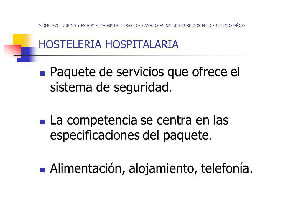 ¿CÓMO EVOLUCIONÓ Y ES HOY EL HOSPITAL TRAS LOS CAMBIOS EN SALUD OCURRIDOS EN LOS ULTIMOS AÑOS? HOSTELERIA HOSPITALARIA Paquete de servicios que ofrece